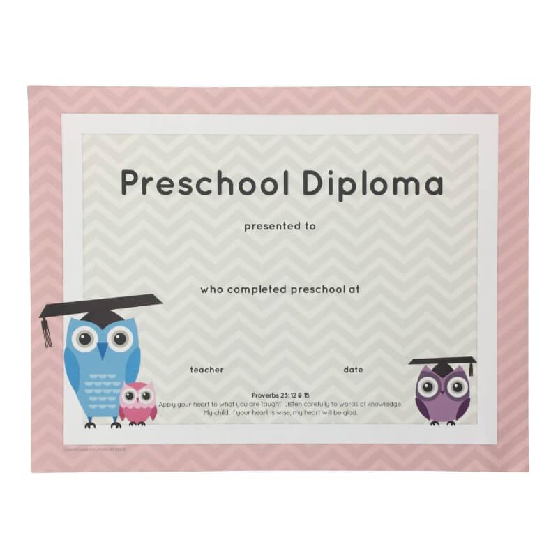 preschool pink diploma pack of 25 grads4good